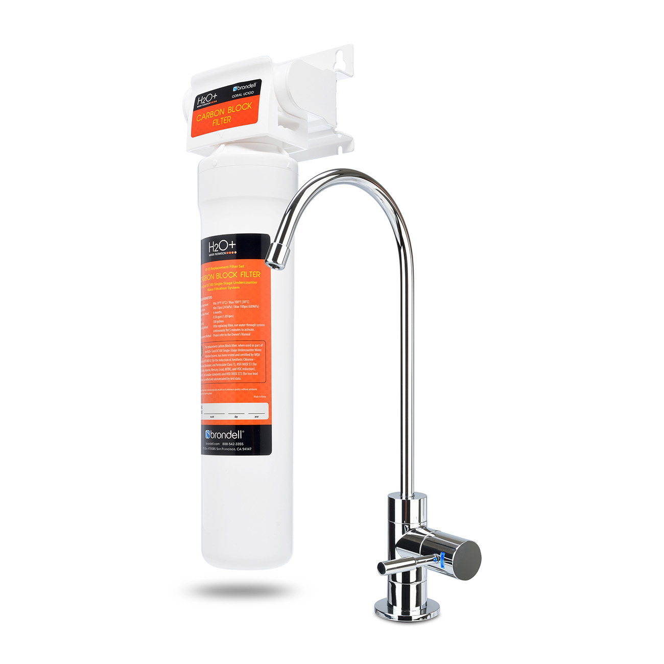 Brondell Coral UC100 Under Counter Water Filter System with a Designer Faucet - Image 1