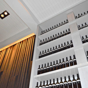 Wine stacked on a shelf