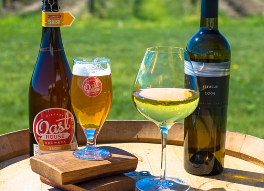 An Oast House beer is paired with a glass of Stratus White, 2009