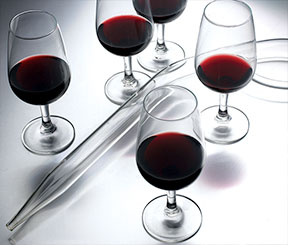 Poured glasses of red used in aid of demonstrating the assemblage style of winemaking at Stratus
