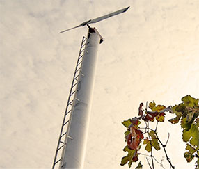 A fan stands tall in the vineyard to help dissipate cool air