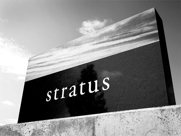 The Stratus sign showcasing the brand and its elements
