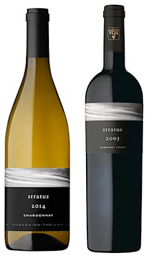 A bottle of Stratus Chardonnay, 2014, left, and a bottle of Stratus Red, 2003, right