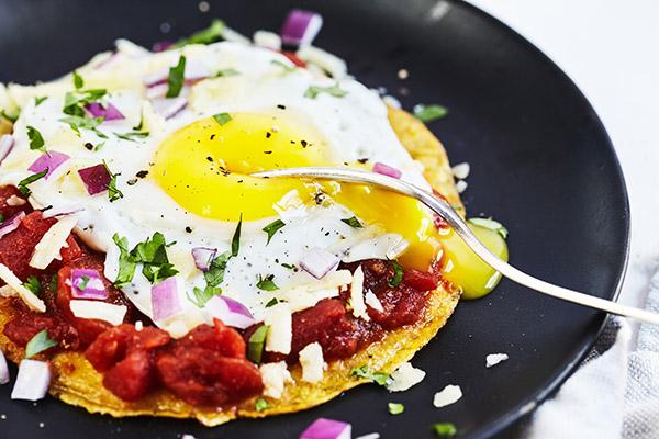 Healthy Huevos Rancheros on a plate
