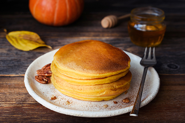 Pumpkin protein pancakes on a plate
