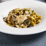 Chicken and Mushroom Pasta in a bowl