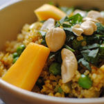 curried quinoa and peas