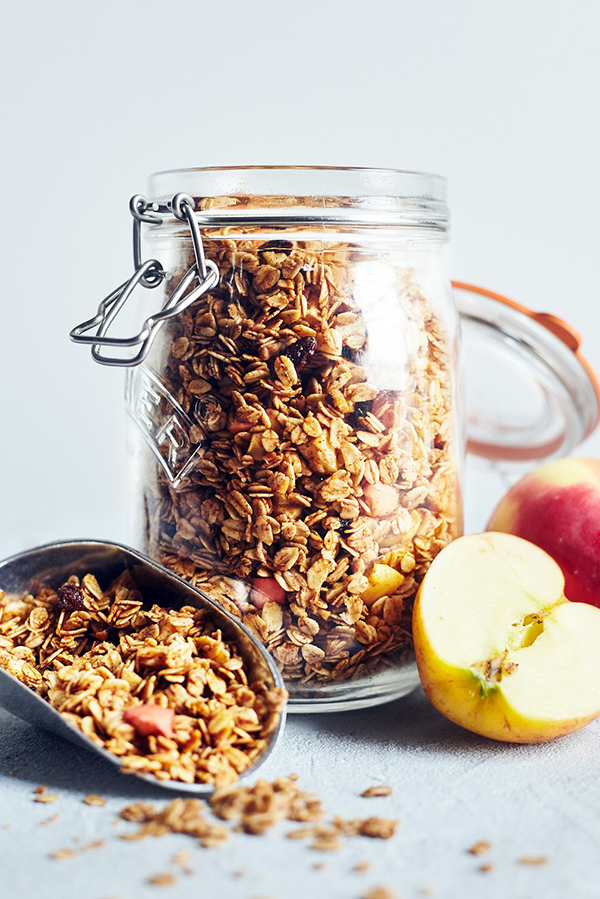 Homemade granola made with apples and cinnamon
