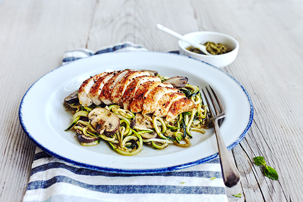 2B Mindset Dinner Recipes - Pesto Zucchini Noodles with Chicken