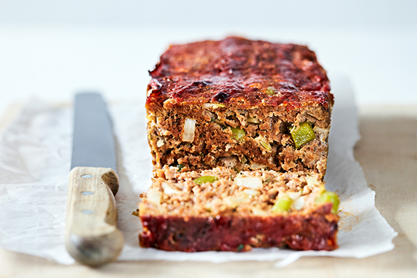 This Easy Meatloaf recipe uses beef, bell pepper, onion, celery, and spices.