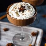 Chocolate Eggnog Shakeology in champagne glass