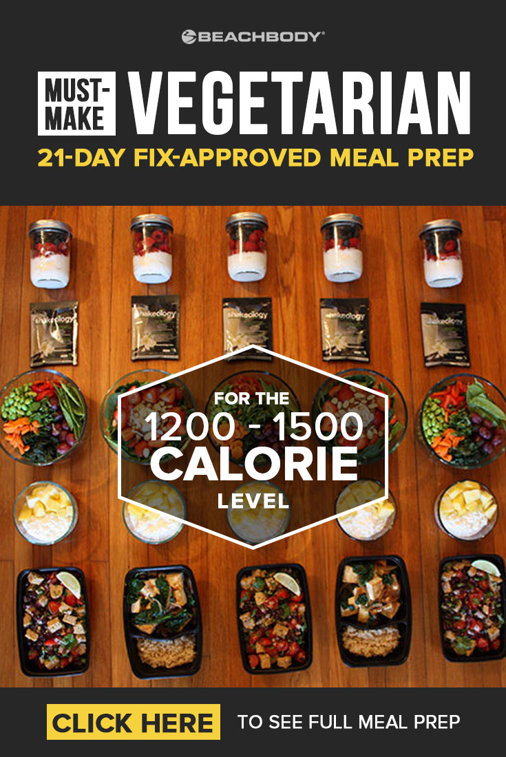 This easy vegetarian meal prep is 21 Day Fix approved and full of tasty recipes ideas! Read on to find out how this 1200-1500 calorie meal prep can fit into your healthy eating plan. #mealprep #mealpreps #mealplanning #21dayfix #21dayfixideas #21dayfixrecipes #21dayfixmealprep #vegetarianmealprep
