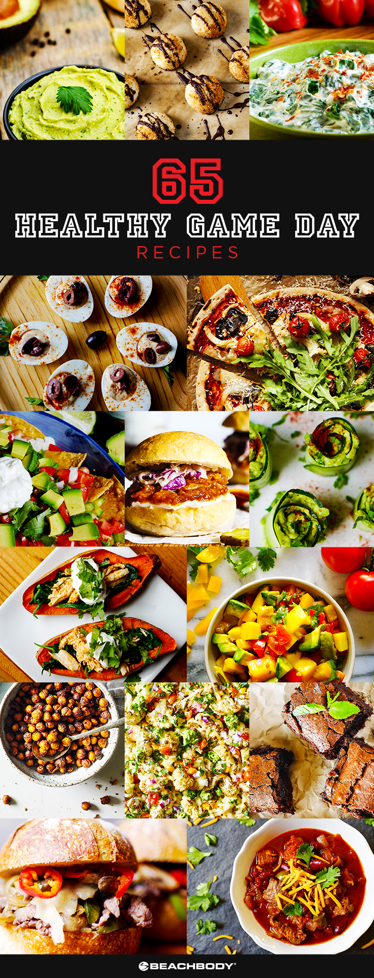 65 Healthy Game Day Recipes for snacks, dips, nachos, chili, pizzas, and more.