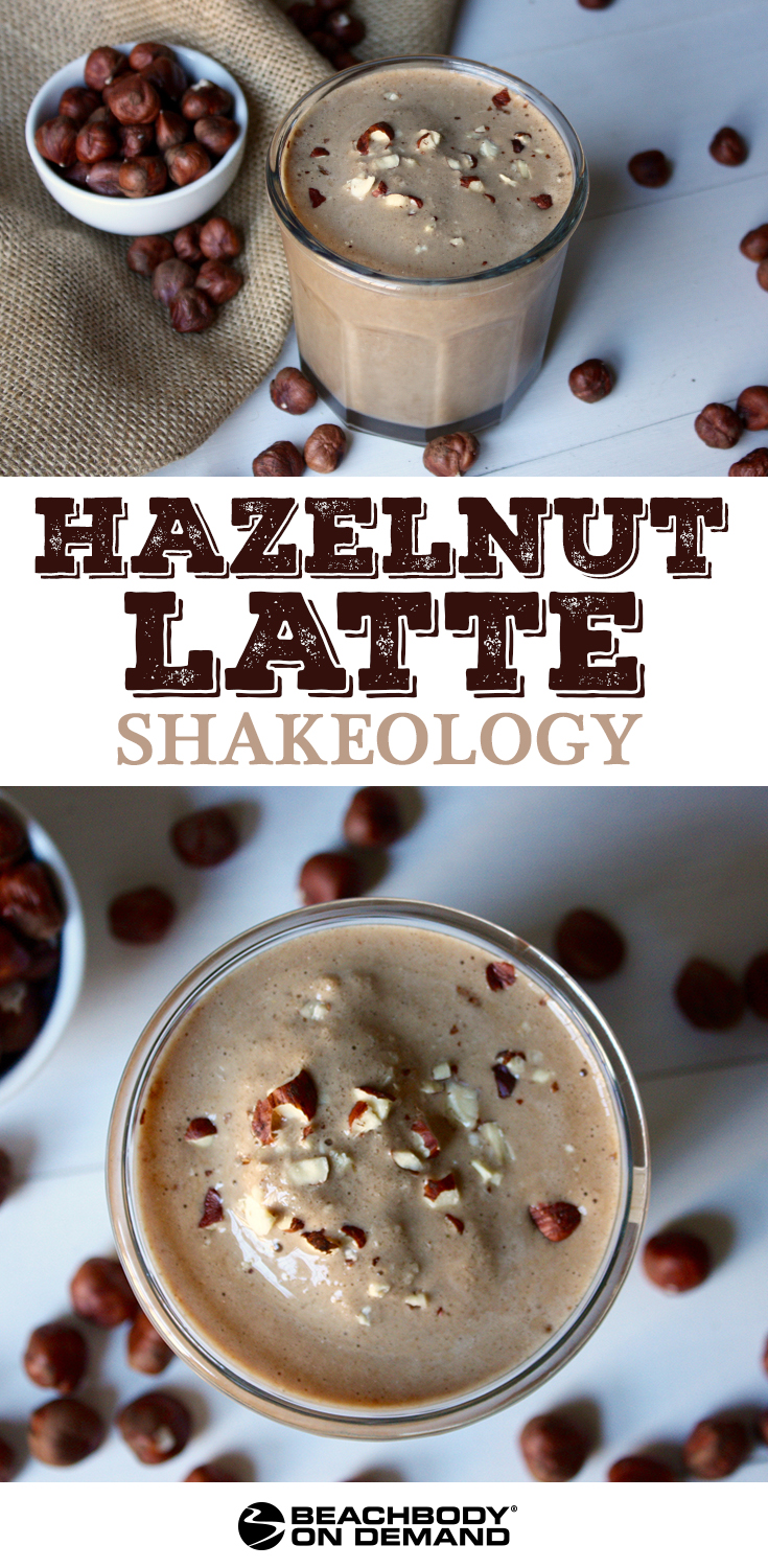Kick-start your day with this Hazelnut Latte Shakeology smoothie with Café Latte Vegan Shakeology, yummy hazelnut extract, and real hazelnuts.