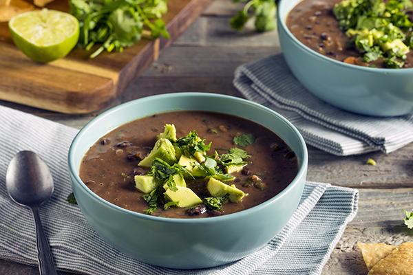 Black bean chili in a bowl