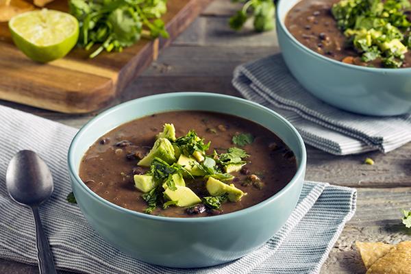Black bean chili in a bowl