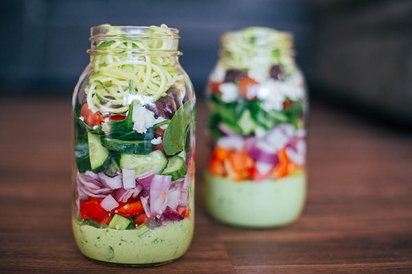 Greek Zucchini Salad in a Mason Jar