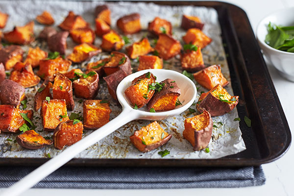 These super simple Sweet Potato Bites taste great with almost any meal made with a touch of olive oil, freshly ground black pepper, and a dash of sea salt.