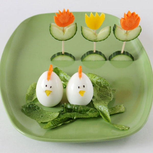 Veggie Flowers and Egg Birds