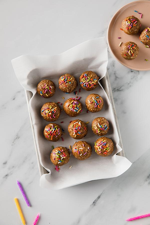Birthday-Cake-Energy-Balls in a pan