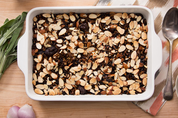 Healthy Thanksgiving Recipes from FIXATE Whole-Grain Stuffing casserole with almonds