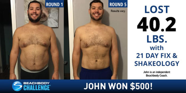 21 day fix results john lost 402 pounds in five rounds