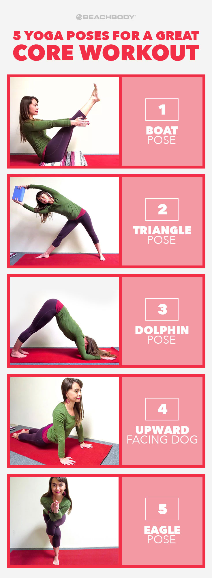 Core workouts sometimes only engage one, or some, of your abdominal muscles. The core is not just one muscle, it is a group of intertwining muscles in the torso that work together to support your spine and pelvis. Check out these 5 Yoga poses for a awesome core workout for overall core strength.