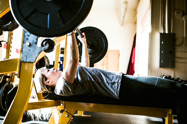 Woman doing benchpress