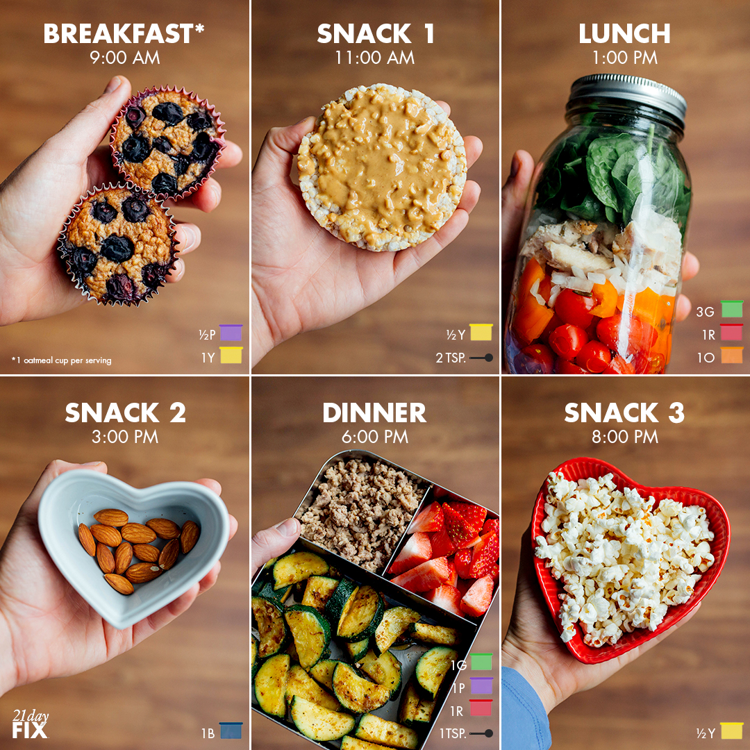 Full day of easy meal prep for 21 Day Fix