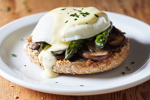 Vegetarian Eggs Benedict with Healthier Hollandaise Sauce