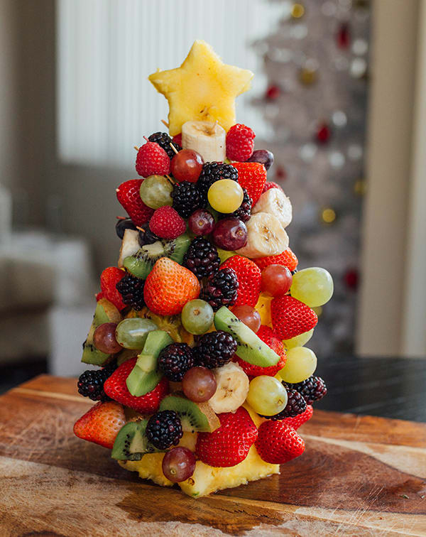Healthy Holiday Snacks - Fruit Christmas Tree Centerpiece