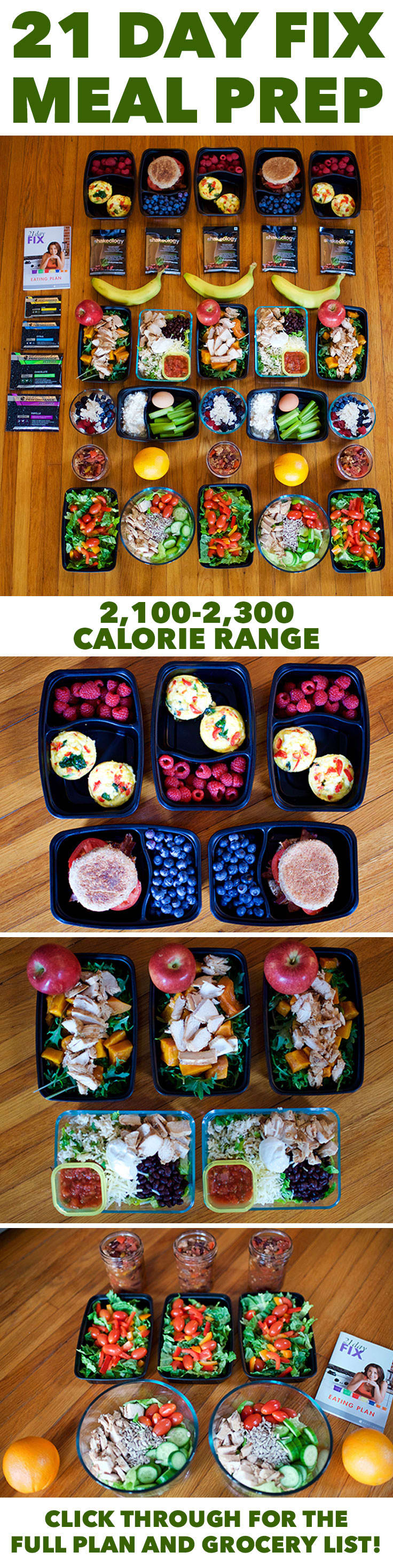 Meal Prep for the 21 Day Fix 2,100–2,300 Calorie Level #mealplan #mealplanning #mealprep #21dayfixmeals #21dayfix #21dayfixrecipes #healthyeating