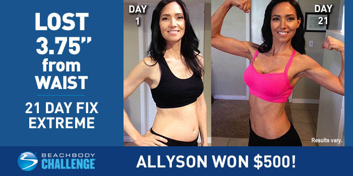 21 day fix extreme results allyson lost 3 inches from her
