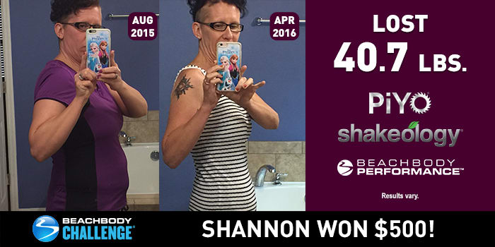 PiYo Results: Shannon Lost Over 40 Pounds and Won $500!