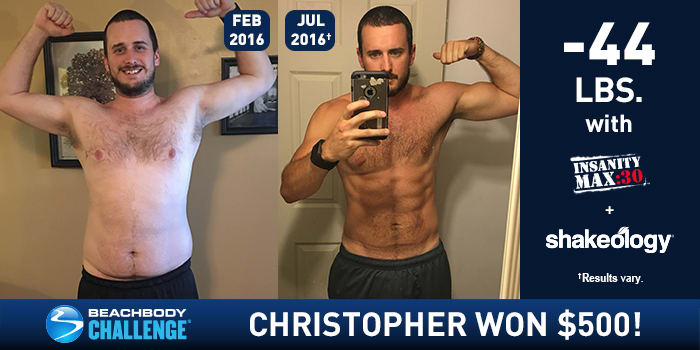 INSANITY MAX:30 Results: Chris Lost 44 Pounds and Won $500!