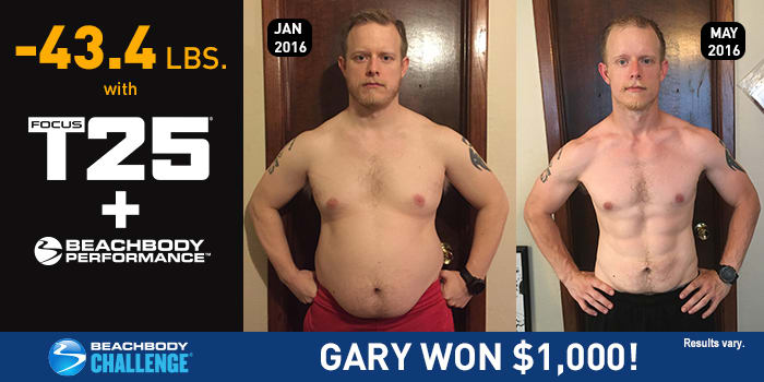 FOCUS T25 Results: Gary Lost 43.4 Pounds and Won $1,000!