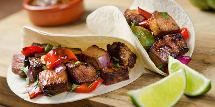Steak Tacos with Red Peppers and Onions Recipe