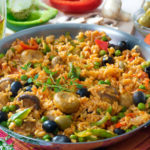This hearty Vegetarian Paella features an authentic spice blend, fresh eggplant, and Spanish olives.