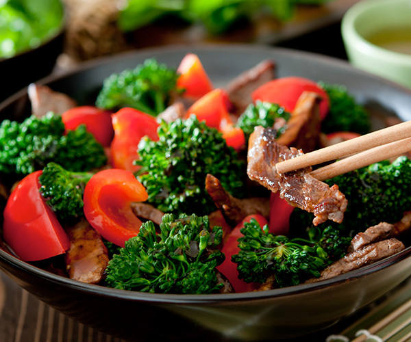 Beef with Broccoli and Red Bell Peppers