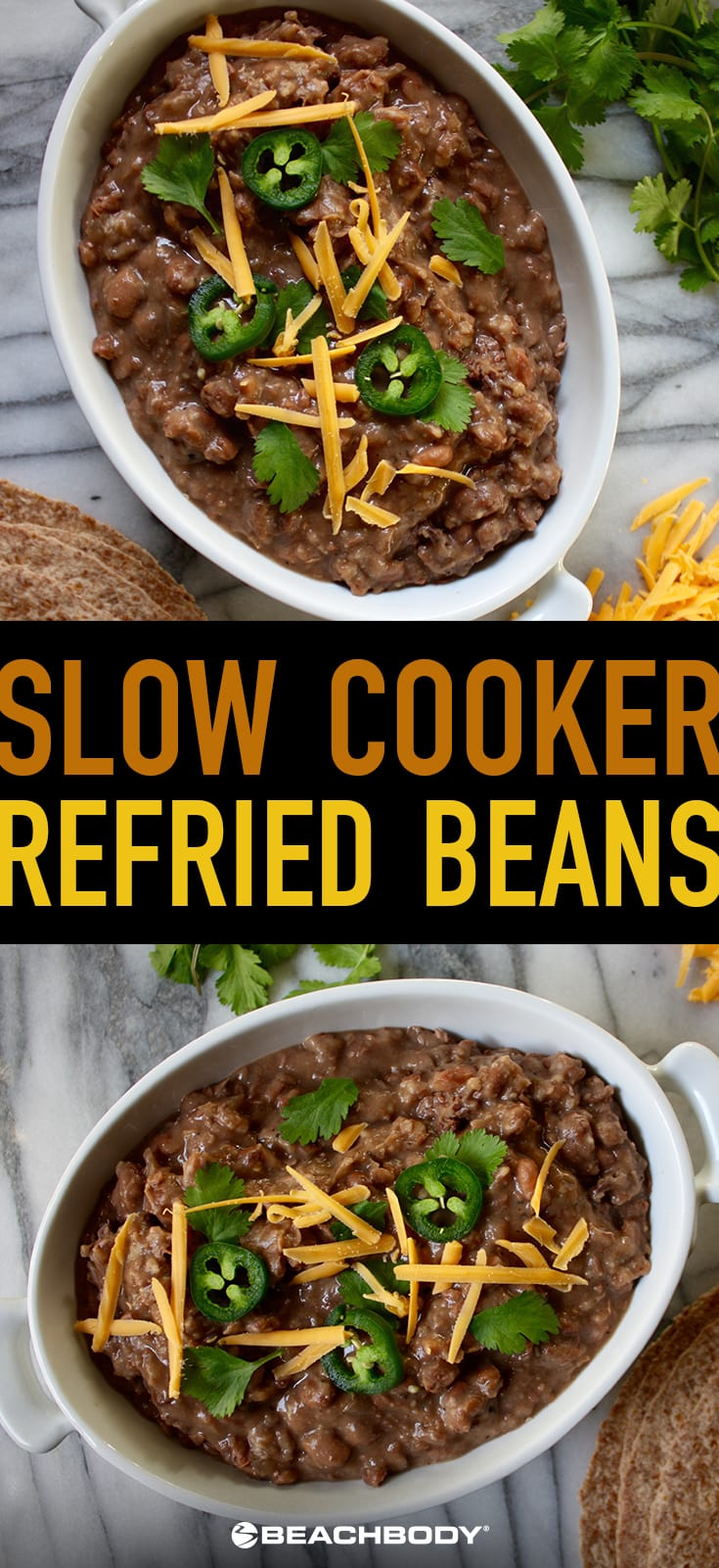 These delicious slow cooker refried beans combine onion, garlic, salt, pepper, and a dash of heat and freeze well for later too!