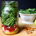 Blue Cheese, Pear, and Spinach Salad in a Mason Jar