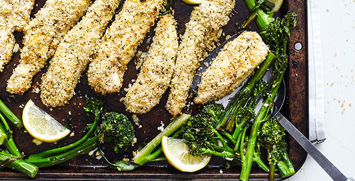 Breaded Chicken Tenders with Lemon and Broccolini