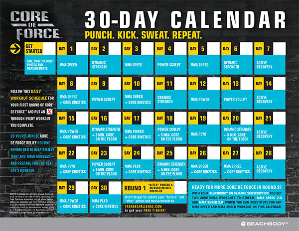 Official CORE DE FORCE Workout Schedule Calendar