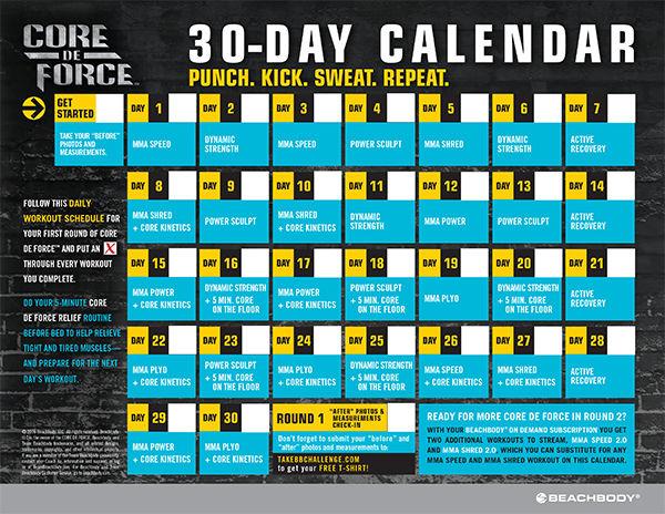 Official CORE DE FORCE Workout Schedule Calendar
