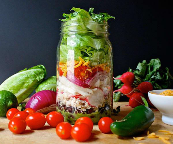 Chicken and Black Bean Burrito Salad in a Mason Jar