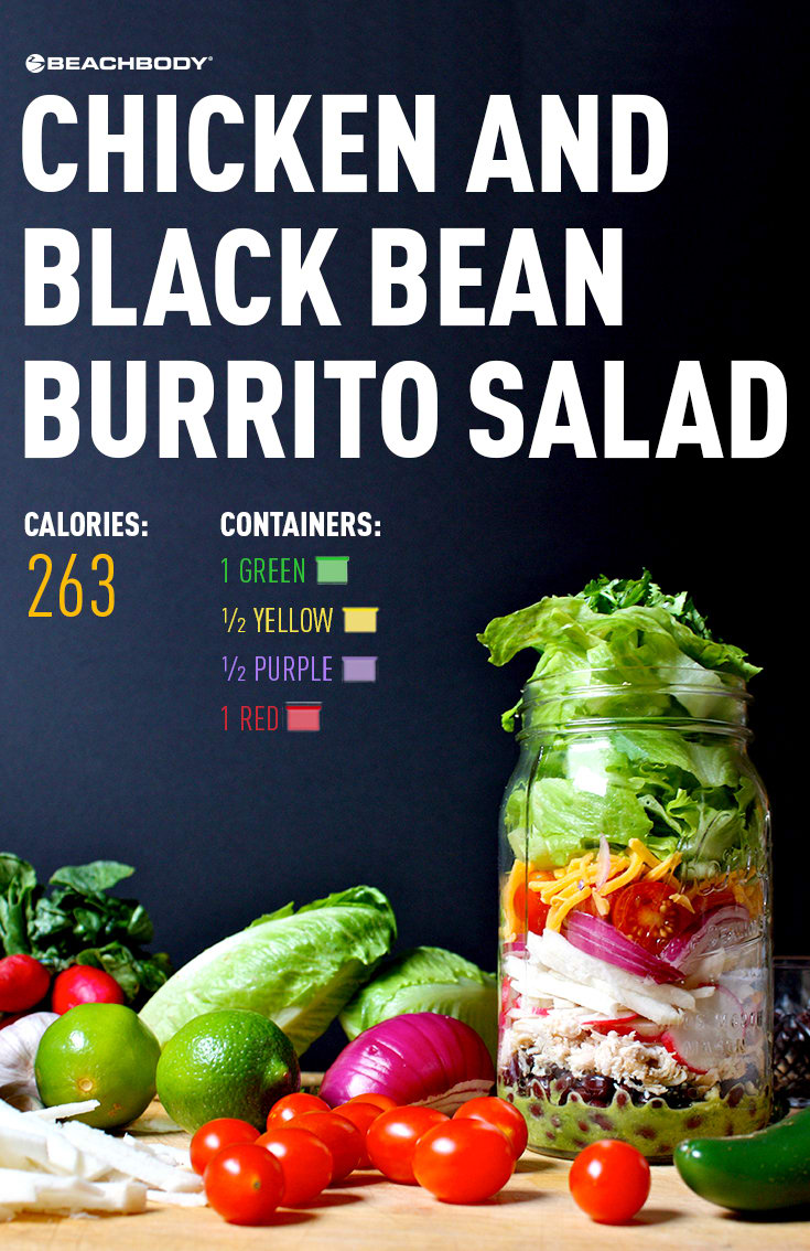 Chicken and Black Bean Burrito Salad in a Mason Jar