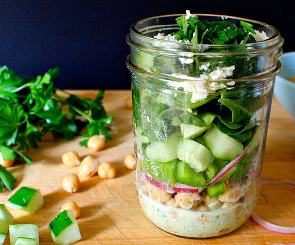 Chickpea Salad with Minty Yogurt Dressing in a Mason Jar