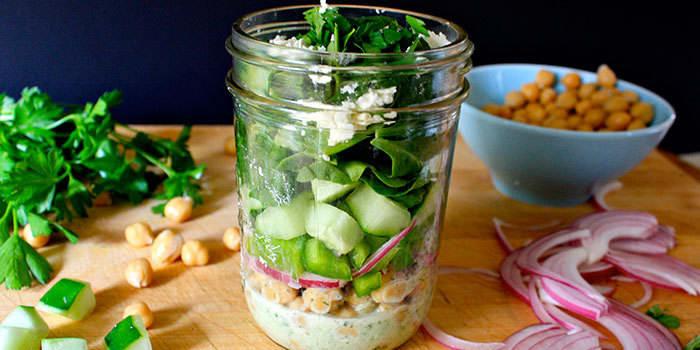 Chickpea Salad with Minty Yogurt Dressing in a Mason Jar