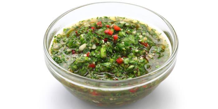 Fresh chimichurri sauce recipe with cilantro and parsley