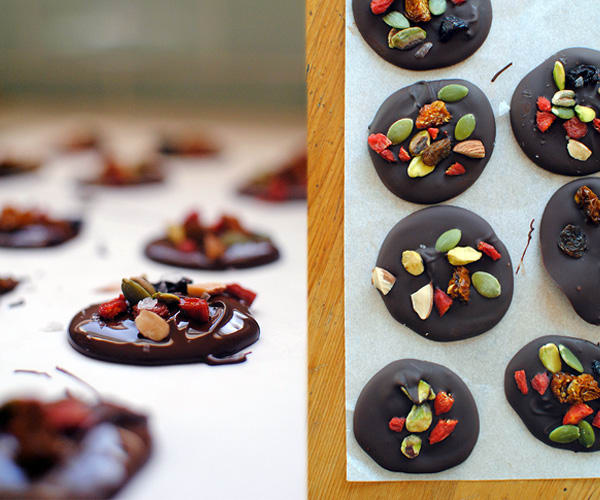 These chocolate superfood bites are devilishly simple to make and just look so impressive made with dried cranberries, pistachio pieces, and pumpkin seeds.